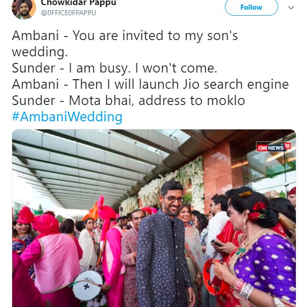 Akash Ambani Wedding 0FFICE0FPAPPU Sundar Pichai