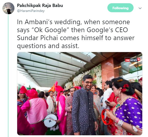 Akash Ambani Wedding Haramiparindey Sundar Pichai