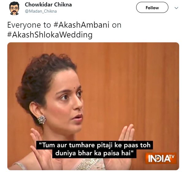 Akash Ambani Wedding Madan_chikna Kangana