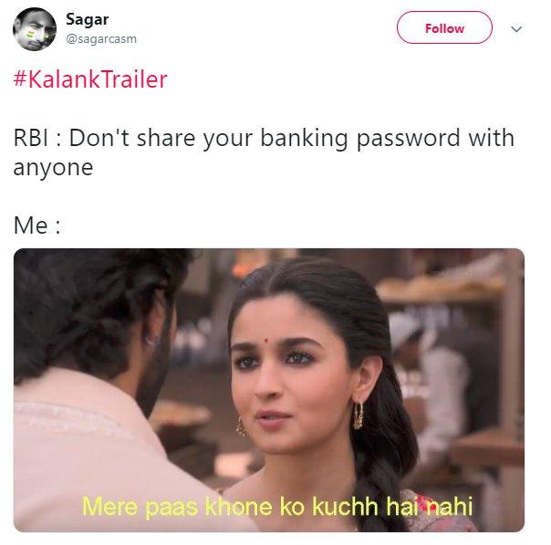 Kalank Sagarcasm Banking