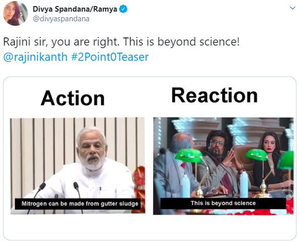 Rajinikanth Beyond Science Divyaspandana Modi