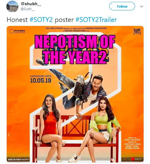 Student of the Year 2 Trailer Nepotism