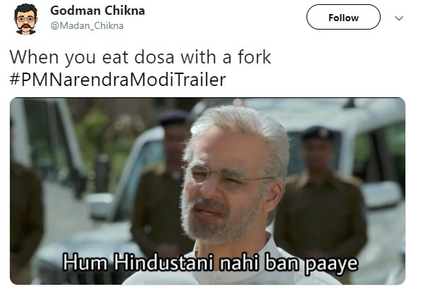 Vivek Oberoi Modi Dosa Fork